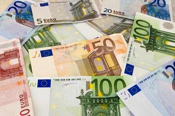 Foto van eurobiljetten.
