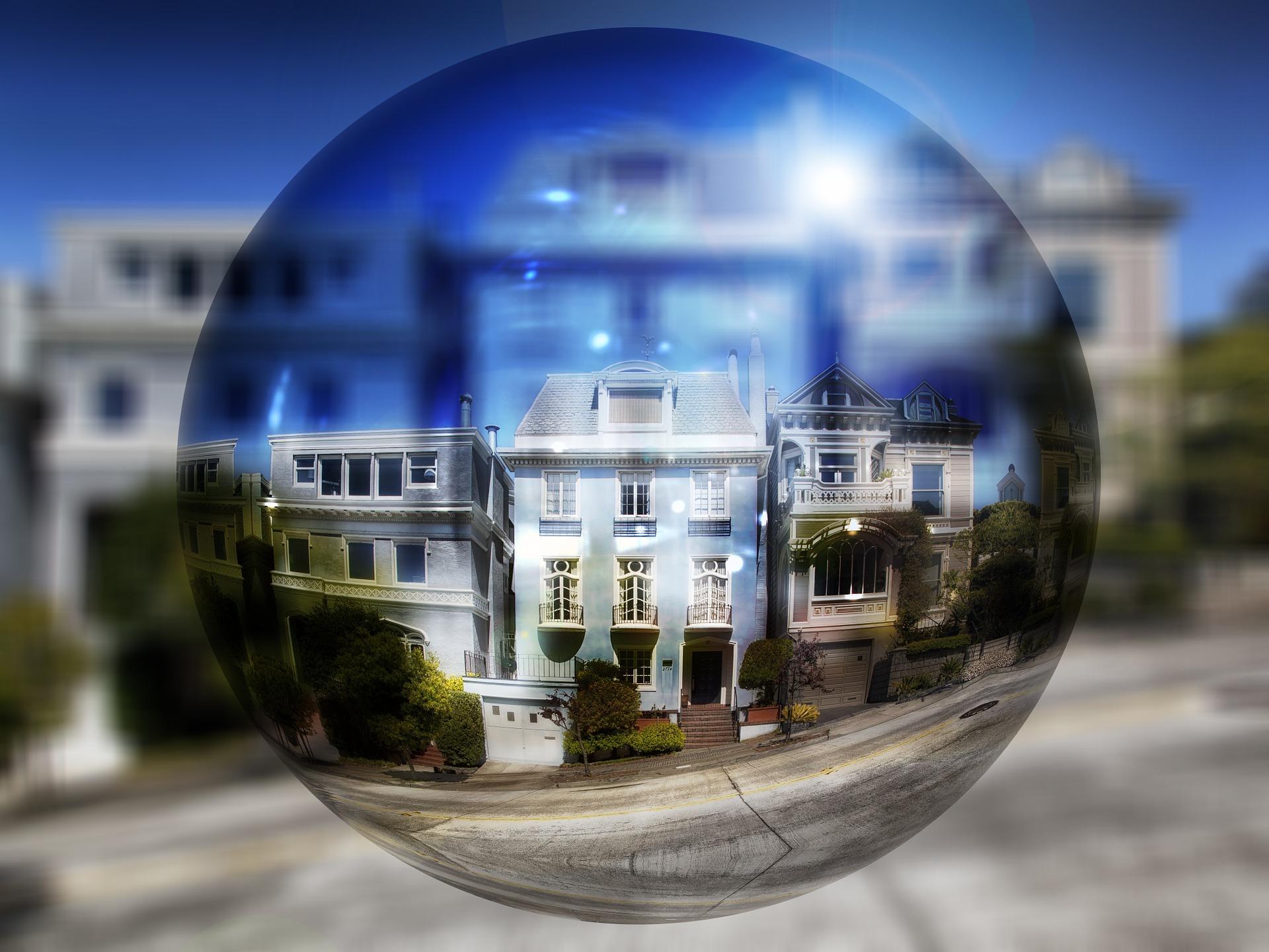 huizen zeepbel